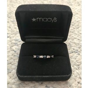 14k White Gold Ring with Diamonds & Sapphires